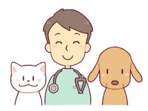 獣医師と犬猫のイラスト